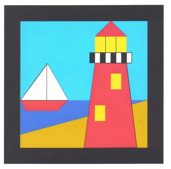 Free Lighthouse Quilt Block Patterns : Items similar to Lighthouse Quilt Block Pattern on Etsy
