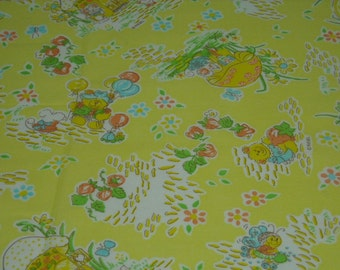 vintage 80s juvenile novelty fabric featuring strawberry, mouse, bear and hedgehog motif, 1 yard, 25 inches