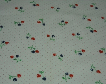 vintage 70s novelty cherry heart fabric, featuring adorable fruit and polka dot design, 1 yard