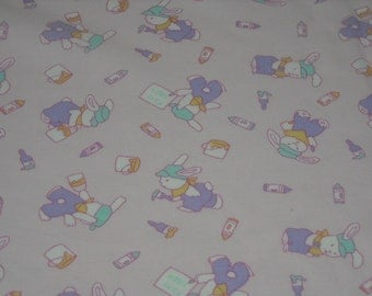 SALE vintage 80s novelty print fabric, featuring adorable bunny design, 2 yards available, priced PER YARD