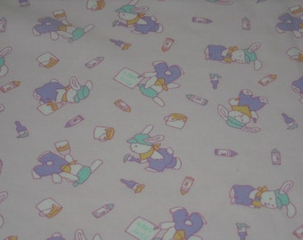 vintage 80s novelty print fabric, featuring adorable bunny design, 2 yards available, priced PER YARD