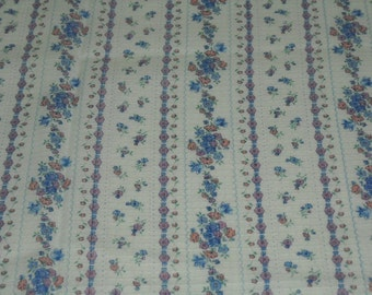 SALE vintage 70s cotton print fabric, featuring pretty textured stripe and floral design, 2 yards available, priced PER YARD
