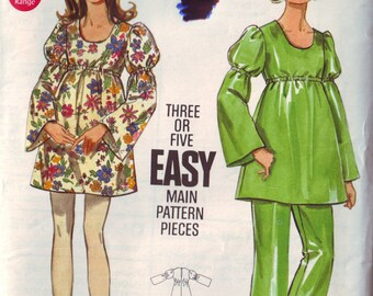 butterick 5503, vintage 70s women's dress and pants pattern UNCUT, junior size 7-8, bust 29 FREE SHIPPING to canada and usa