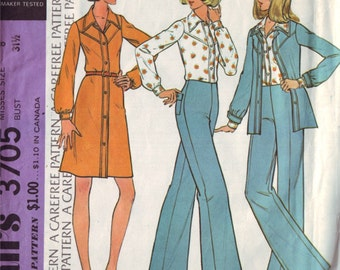 mccall's 3705, vintage 70s women's separates pattern UNCUT, size 8, bust 31.5 FREE SHIPPING to canada and usa