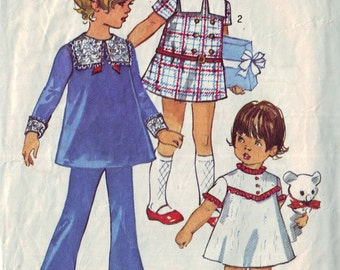 simplicity 8567, vintage 60s children's dress, tunic and pants pattern, toddler size 4, chest 23 FREE SHIPPING to canada and usa