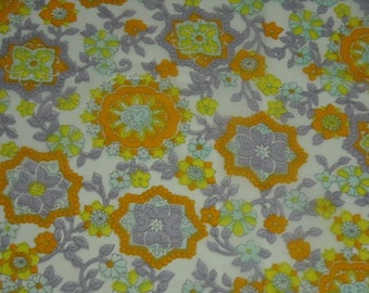 vintage 70s novelty sheer print fabric featuring pretty floral medallion motif, 1 yard, 3 available priced PER YARD