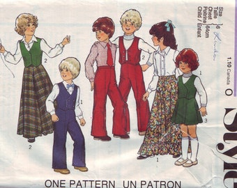 style 2129, vintage 70s children's separates pattern, girls' size 6, chest 25 FREE SHIPPING to canada and usa