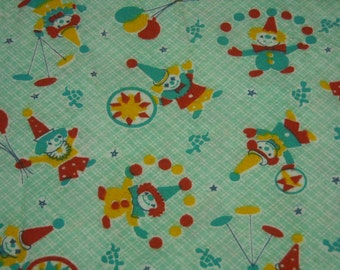 vintage 50s flannelette fabric, featuring cute clown motif, 1 yard, 4 available priced PER YARD