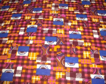 vintage 70s novelty print fabric, featuring wild patchwork design, 1 yard, 7 inches EXTRA WIDE