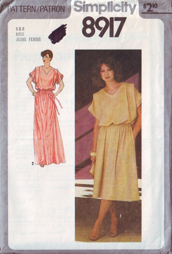 simplicity 8917, vintage dress pattern in regaular or maxi lengths, UNCUT, sizes 6-8, bust 30.5-31.5 FREE SHIPPING  to canada and usa