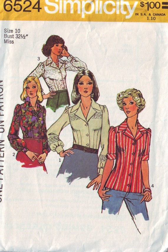 simplicity 6524, vintage 70s puff sleeves blouse shirt pattern, size 10, bust 32.5 FREE SHIPPING  to canada and usa