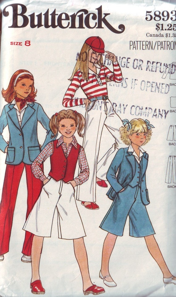 butterick 5893, vintage 80s children's jacket, vest, pants and culottes pattern, girls' size 8, chest 27 FREE SHIPPING to canada and usa