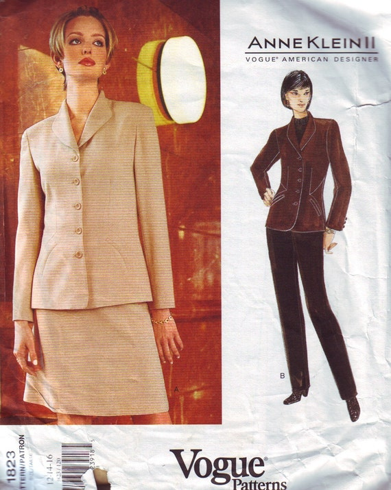 vogue american designer 1823, anne klein suit pattern, UNCUT, sizes 12-14-16, bust 34-38, FREE SHIPPING to canada and usa