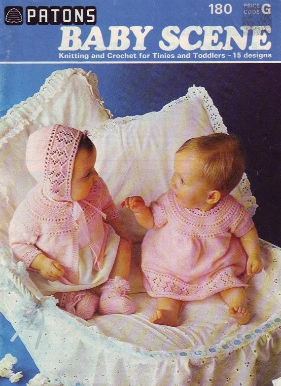 Vintage Baby Knitting Pattern Books : vintage 70s patons knitting pattern book baby scene by ...
