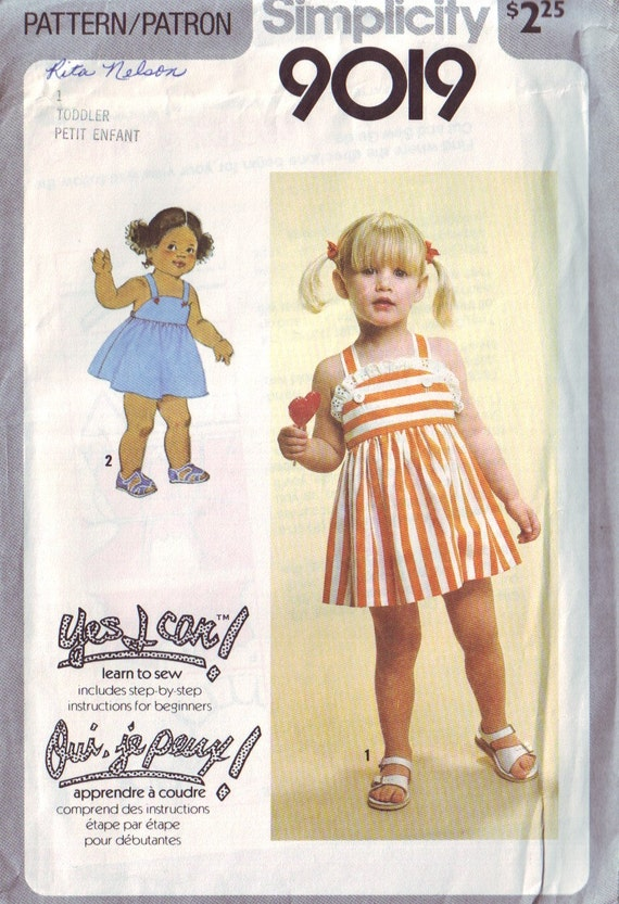 simplicity 9019 vintage 70s childrens sun dress pattern
