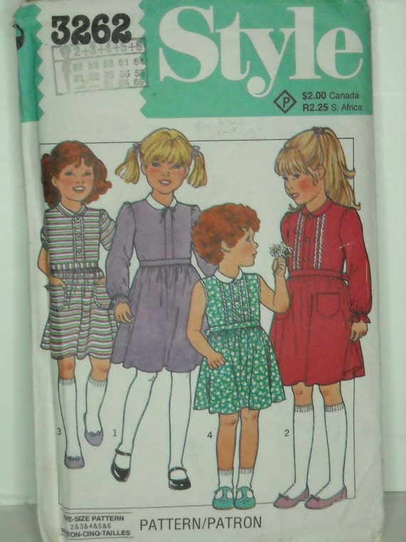 style 3262, vintage 80s children's dress pattern, toddler girl size 2-3-4-5-6, chest 21-25 FREE SHIPPING to canada and usa