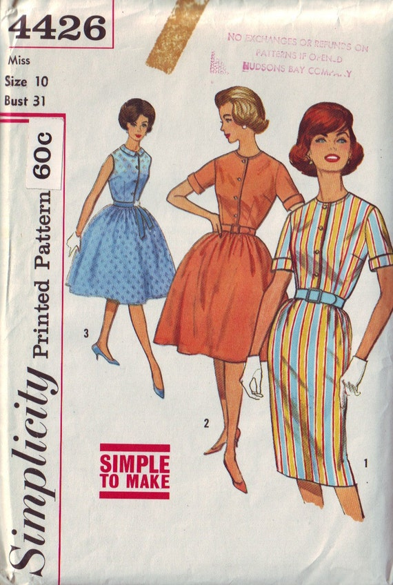 simplicity 4426 vintage 60s dress pattern, size 10, bust 31 FREE SHIPPING to canada and usa
