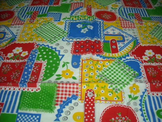 vintage 70s novelty juvenile print fabric, featuring super cute patchwork design, 1 yard, 4 inches