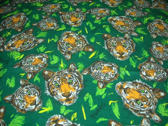 vintage 80s novelty juvenile print fabric, featuring bold tiger design, 1 yard, 3 inches