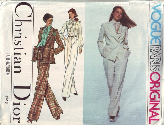 vogue paris original 1748, vintage christian dior suit pattern UNCUT, size 10, bust 32.5 FREE SHIPPING to canada and usa
