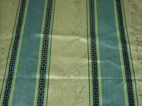 vintage 70s novelty brocade fabric featuring great classic stripe motif, 1 yard EXTRA WIDE