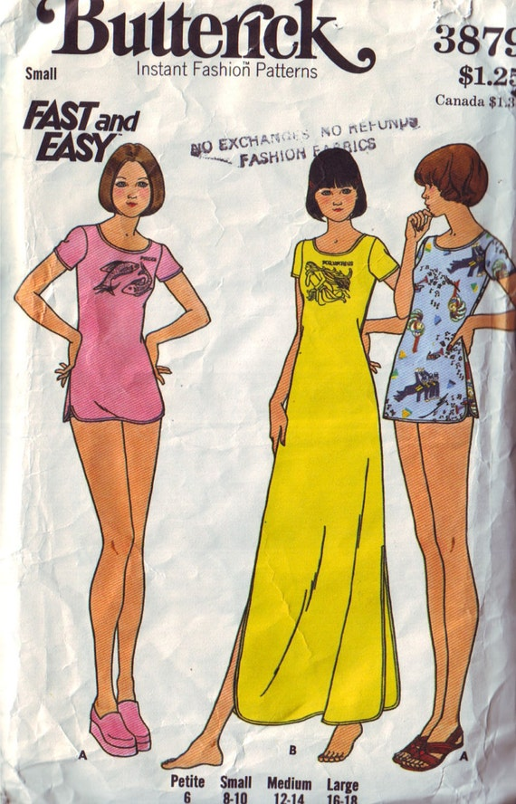 SALE butterick 3879, vintage 70s night dress and panties pattern, size small, 8-10, bust 31.5 to 32.5 FREE SHIPPING to canada and usa