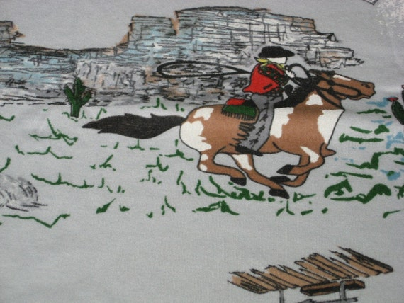 "vintage 70s t-shirt knit fabric featuring kitsch western design 57"" x 21"" EXTRA WIDE"