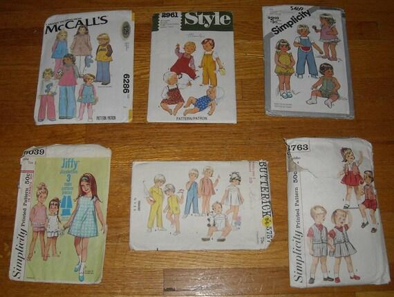 SUPER SALE vintage 60s 70s 80s destash children's pattern bundle, TODDLER sizes 1 to 4