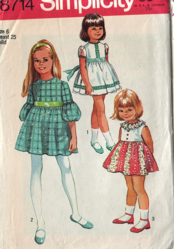 simplicity 8714, vintage 70s children's dress pattern, toddler size 6, chest 25 FREE SHIPPING to canada and usa