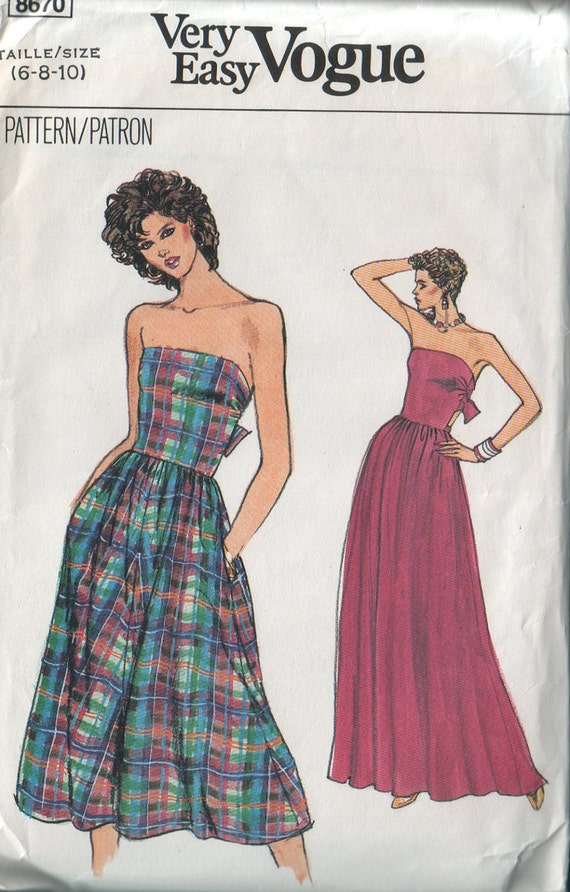 very easy very vogue 8670, vintage 80s strapless dress pattern, sizes 6 8 10 FREE SHIPPING to canada and usa