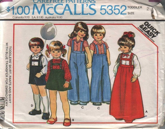 mccall's 5352, vintage 70s children's dress, pants and shirt pattern UNCUT, toddler size 2 chest 21, FREE SHIPPING to canada and usa