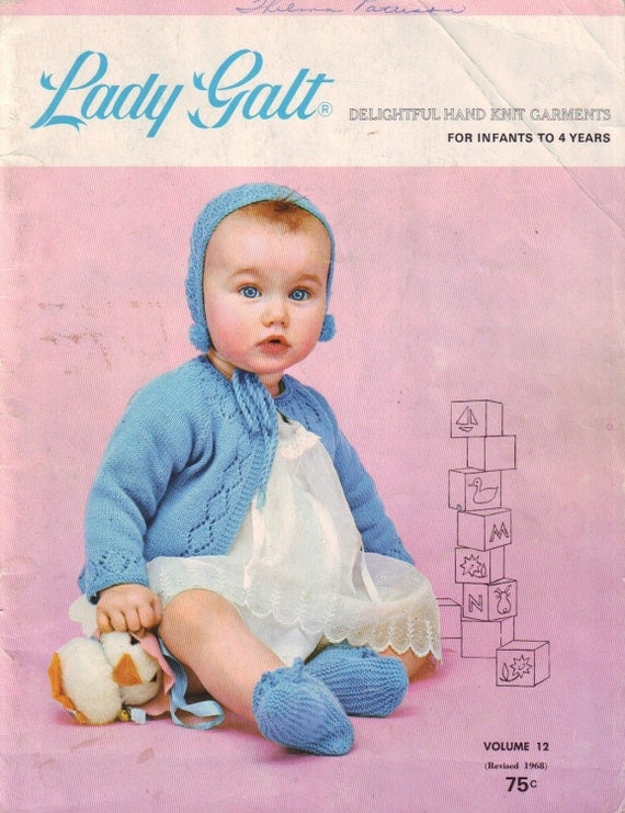 vintage 60s lady galt knit and crochet book, volume 12, for newborns, babies and toddlers