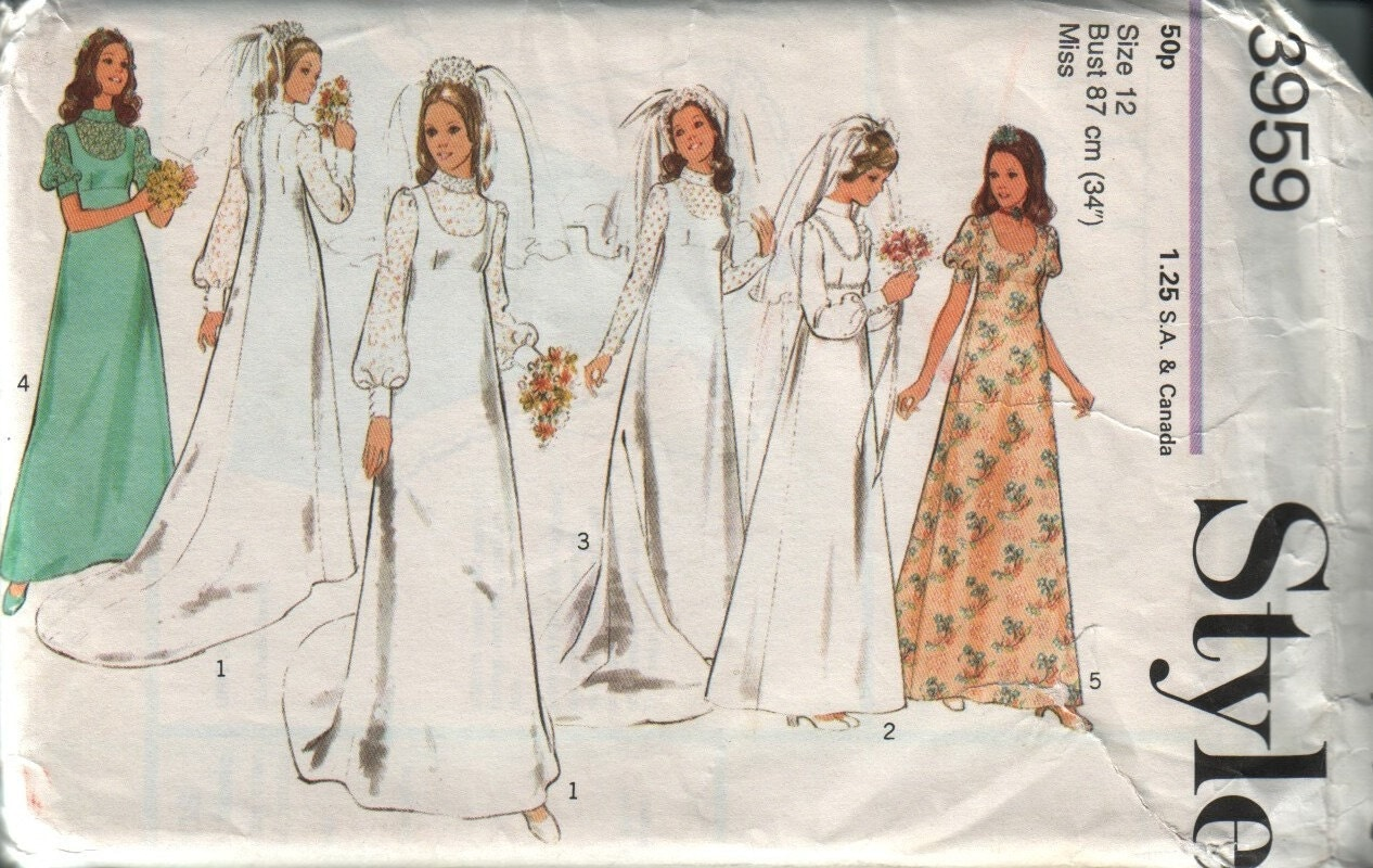 Style 3959 vintage 70s wedding dress pattern uncut by vintagevice