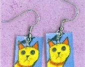 Folk Art Cat with Crow Hand Crafted Earrings