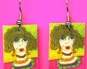 Sassy Miss Marge Dangle Earrings Hand Made Artwork Original Unique To Wear