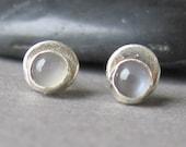tiny grey moonstone stud earrings Double Dot