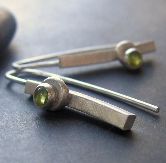asymmetrical peridot linear dangle earrings Stem Drop READY TO SHIP