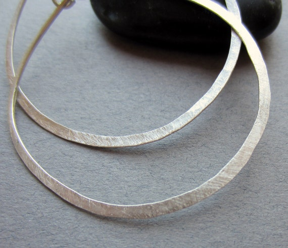 large recycled silver round hoop earrings Hoopla READY TO SHIP