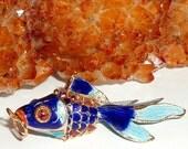 Cobalt Blue Cloisonne Fantail Goldfish Pendant