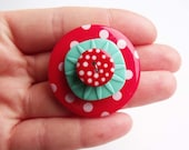 Polka dot brooch, button brooch, spotty, red and aqua, kitsch, kooky, ooak