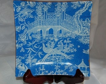 Square Glass Decoupage Plate, Blue Pagoda Toile 6 x 6""