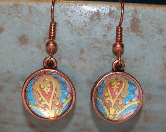 Glass Earrings - Red and Gold Heart Glass Dome Copper Earrings