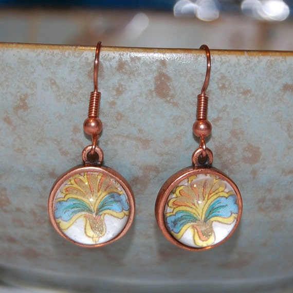 Glass Earrings - Blue Fan Floral Glass Dome Copper Earrings