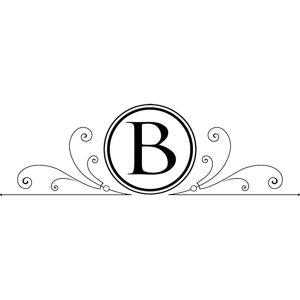 Vinyl decal monogram initial personalized family name with