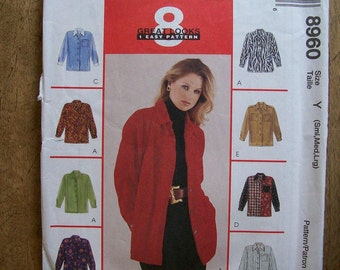 McCalls Womens Shirt Pattern 8960 Size S-M-L With Eight Different Looks