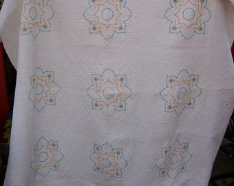 Vintage Embroidered Coverlet Blue, Orange and Yellow Design on White