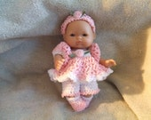 Crochet Pattern for 5 Inch Berenguer Baby a Dress and Bloomer Set