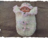 Crochet PATTERN for 5 inch Berenguer Ribbon and Roses Cocoon