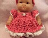 Crochet Pattern for 8 Inch Berenguer Baby Layered Dress