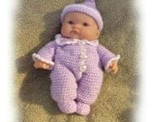 Crochet Pattern for 8 inch Berenguer Top Knot Pajama Set